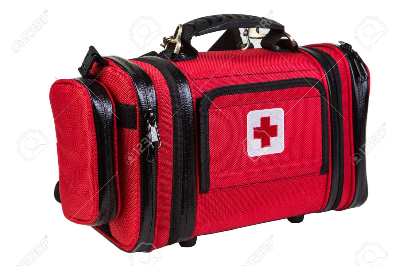 Modern portable doctor red bag isolated
